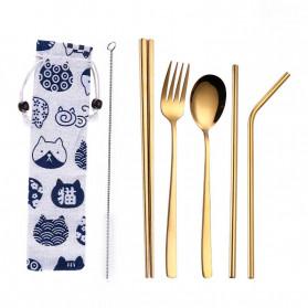Tofok Cutlery Set Perlengkapan Makan Sendok Garpu Kitty Cloth Bag 6PCS - T5 - Golden