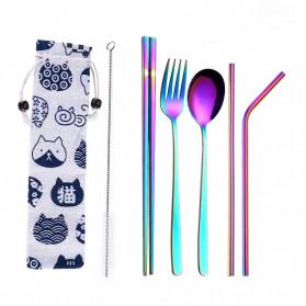 Tofok Cutlery Set Perlengkapan Makan Sendok Garpu Kitty Cloth Bag 6PCS - T5 - Multi-Color - 1