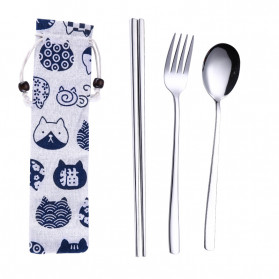 Tofok Cutlery Set Perlengkapan Makan Sendok Garpu Kitty Cloth Bag 3PCS - T19 - Silver