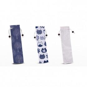 Tofok Cutlery Set Perlengkapan Makan Sendok Garpu Kitty Cloth Bag 3PCS - T19 - Silver - 5