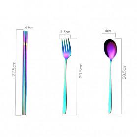 Tofok Cutlery Set Perlengkapan Makan Sendok Garpu Kitty Cloth Bag 3PCS - T19 - Silver - 7
