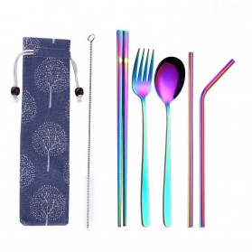 Tofok Cutlery Set Perlengkapan Makan Sendok Garpu Blue Cloth Bag 6PCS - T10 - Multi-Color