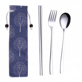 Tofok Cutlery Set Perlengkapan Makan Sendok Garpu Blue Cloth Bag 3PCS - T20 - Silver