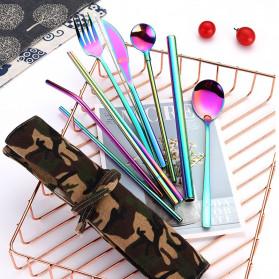 Tofok Cutlery Set Perlengkapan Makan Sendok Garpu Army Cloth Bag 9PCS - T2 - Silver - 8