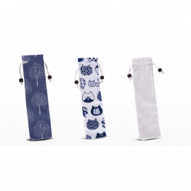 Tofok Cutlery Set Perlengkapan Makan Sendok Garpu Beige Cloth Bag 3PCS - T21 - Silver - 5