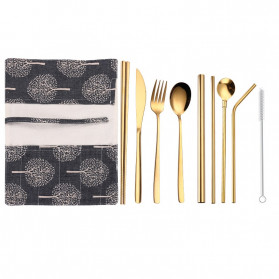 Tofok Cutlery Set Perlengkapan Makan Sendok Garpu Army Cloth Bag 9PCS - T1 - Golden