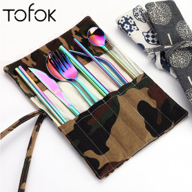 Tofok Cutlery Set Perlengkapan Makan Sendok Garpu Army Cloth Bag 9PCS - T1 - Golden - 2