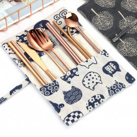 Tofok Cutlery Set Perlengkapan Makan Sendok Garpu Army Cloth Bag 9PCS - T1 - Golden - 5