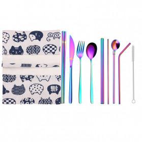 Tofok Cutlery Set Perlengkapan Makan Sendok Garpu Rainbow Cloth Bag 9PCS - T14 - Multi-Color - 1