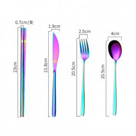 Tofok Cutlery Set Perlengkapan Makan Sendok Garpu Rainbow Cloth Bag 9PCS - T14 - Multi-Color - 4