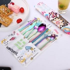 Tofok Cutlery Set Perlengkapan Makan Sendok Garpu Rainbow Cloth Bag 9PCS - T14 - Multi-Color - 7