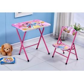 TaffHOME Meja Kursi Belajar Anak Motif Kartun Lucu 60 x 40 CM - WXD40 - Pink