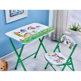 TaffHOME Meja Kursi Belajar Anak Motif Kartun Lucu 60 x 40 CM - WXD40 - Light Green