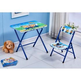 TaffHOME Meja Kursi Belajar Anak Motif Kartun Lucu 60 x 40 CM - WXD40 - Blue