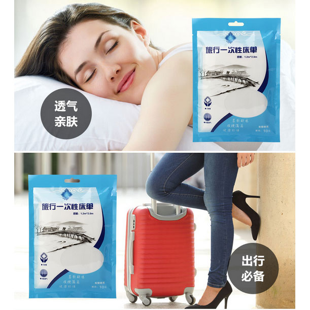Travel Hygienic Disposable Bed Sheets Single Size 120 X