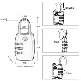 Jasit Lock Gembok Koper TSA Kode Angka - TSA-335 - Red - 7