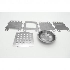 Lixada Stainless Steel Penahan Angin untuk Kompor Camping Outdoor - HWL-02 - Silver - 5