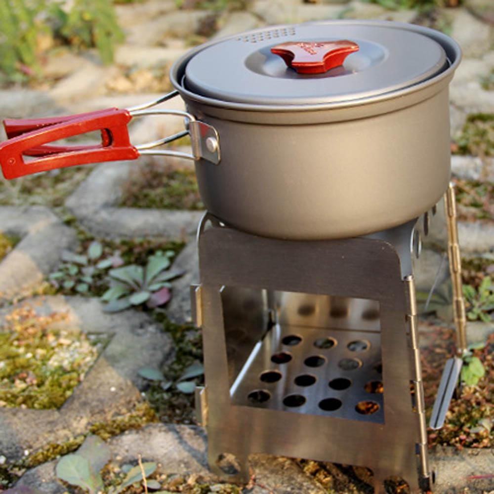 Outdoor cooking camping folding wood stove pocket alcohol for Outdoor wood cooking stove