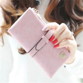 Dompet Kulit Wanita Model Panjang - Pink