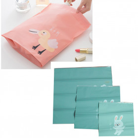 Mojoyce Cute Rabbit Bag in Bag Kantung Organizer Zipper Clip Bag Waterproof 3 PCS - MJ3 - Baby Blue