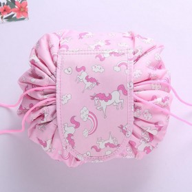 Tas Kosmetik Travel Pouch Drawstring Unicorn - Pink - 2