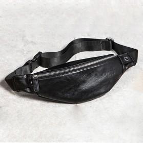 WESTAL Tas Pinggang Pria Elegan Bahan Kulit Waist Bag - 6935 - Black