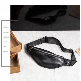 WESTAL Tas Pinggang Pria Elegan Bahan Kulit Waist Bag - 6935 - Black - 2