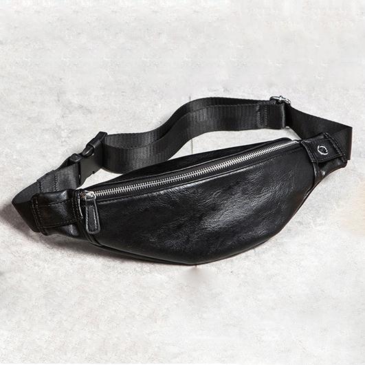 ... Tas Pinggang Pria Elegan Bahan Kulit Waist Bag - 6935 - Black - 1 ... 87b6816a28