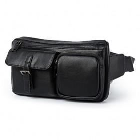 Tas Pinggang Pria Travel Bahan Kulit Waist Bag - 6935 - Black