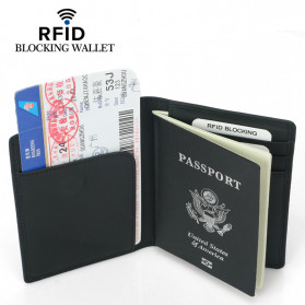 BUBM Dompet Passport Anti RFID Bahan Kulit - YP-227 - Black