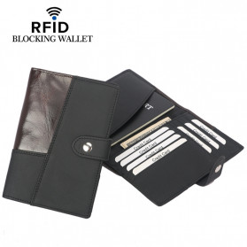 BUBM Dompet Passport Anti RFID Bahan Kulit - YP-223 - Black
