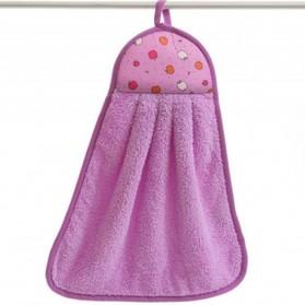 CELLDEAL Handuk Coral Velvet Soft Hand Towel Hanging Cloth Kitchen 30 x 40cm - THH1285 - Purple