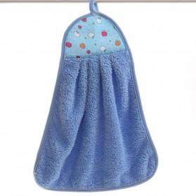 CELLDEAL Handuk Coral Velvet Soft Hand Towel Hanging Cloth Kitchen 30 x 40cm - THH1285 - Blue