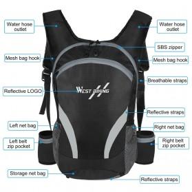 West Biking Tas Olahraga Sepeda 15L with Hydration Slot - YP070 - Black - 4