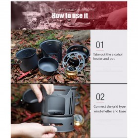 Alocs 7 in 1 Kompor Gas Alcohol Stove Portable untuk Camping - CW-C01 - Black - 7