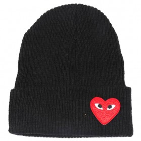 Topi Kupluk Wol Beanie Hat Heart Eyes - ZG187181 - Black