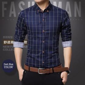 Kemeja Lengan Panjang Pria Slim Fit Motif Kotak Kotak Size 2XL - Dark Blue - 1