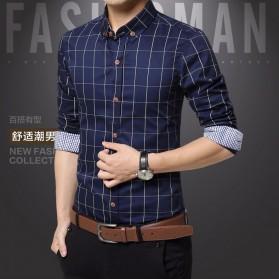 Kemeja Lengan Panjang Pria Slim Fit Motif Kotak Kotak Size 2XL - Dark Blue - 2