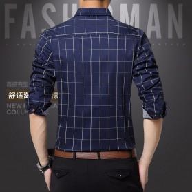 Kemeja Lengan Panjang Pria Slim Fit Motif Kotak Kotak Size 2XL - Dark Blue - 4