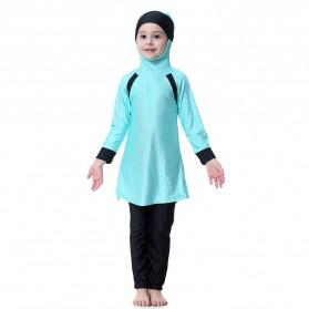 HANYIMIDOO Baju Renang Muslim Anak Perempuan Size 4XL 160 CM - H2010 - Blue - 1