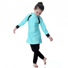 HANYIMIDOO Baju Renang Muslim Anak Perempuan Size 4XL 160 CM - H2010 - Blue - 5