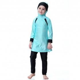 HANYIMIDOO Baju Renang Muslim Anak Perempuan Size 4XL 160 CM - H2010 - Blue - 7