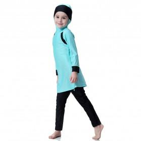 HANYIMIDOO Baju Renang Muslim Anak Perempuan Size 4XL 160 CM - H2010 - Blue - 8