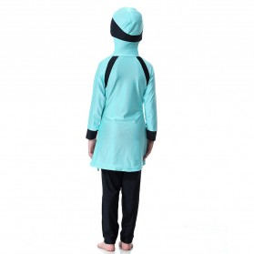 HANYIMIDOO Baju Renang Muslim Anak Perempuan Size 4XL 160 CM - H2010 - Blue - 10