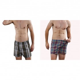 Celana Dalam Pria Classic Plaid Trunks Boxer Cotton Size XL - Nk01 - Multi-Color - 5