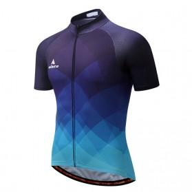 TELEYI Baju Pakaian Olahraga Sepeda Pria Cycling Jersey Short Sleeve Men Size M - CC8045 - Blue