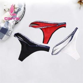 Cinvik Celana Dalam Wanita G-String Seamless Sports Underwear Size L - L9383 - Black - 2
