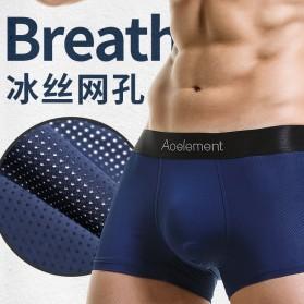 AOELEMENT Celana Dalam Boxer Pria Breathable Ice Mesh Hole Size L - AO500 - Black - 3