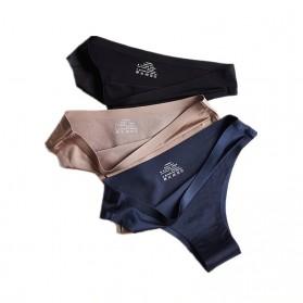 Bugalow Celana Dalam Wanita Ice Silk Seamless Sport Low Waist Underwear Size L - L9380 - Cream - 5