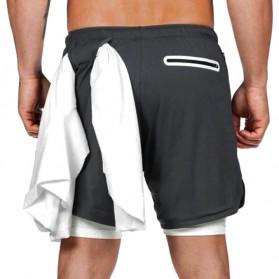 Pakaian Pria Terbaru Keren - BUTZ Celana Pendek Olahraga Gym Pria Double Layer With Towel Holder Size XL - GY002 - Black